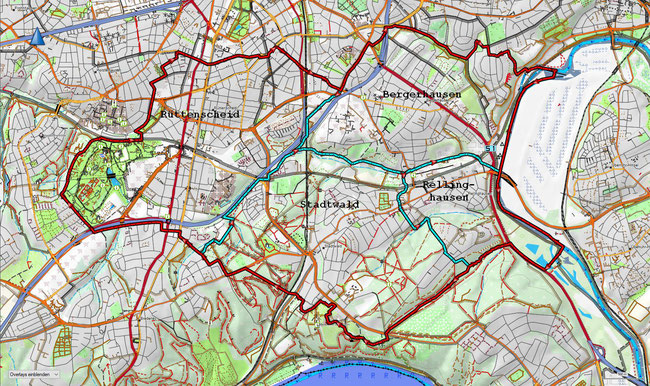 Karte des Stadtbezirks II mit den zugehörigen Stadtteilen