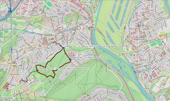 Karte Schellenberger Wald A1 im Grundmaßstab der übrigen Wanderungen