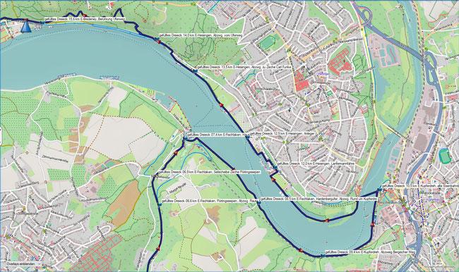 gefülltes Dreieck Karte 2 E-Fischlaken,  Seilscheibe Pörtingssiepen - E-Bredeney, Berührung des Seeuferwegs