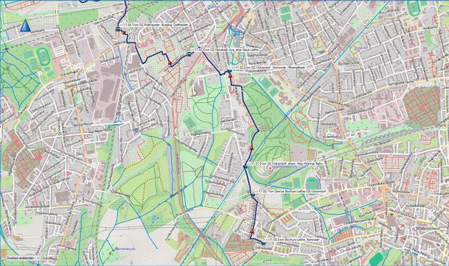 Raute 11 Karte 1 Bochum-Leithe, Kemnastr. - Gelsenkirchen-Rotthausen, Gottfriedstr.