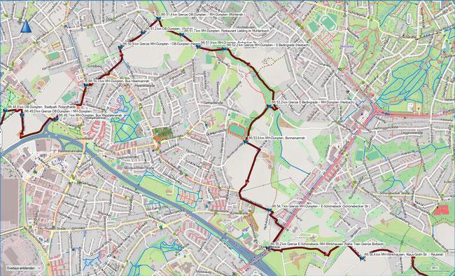 Rund um Mülheim Karte 11 MH-Dümpten / OB-Dümpten - MH-Winkhausen