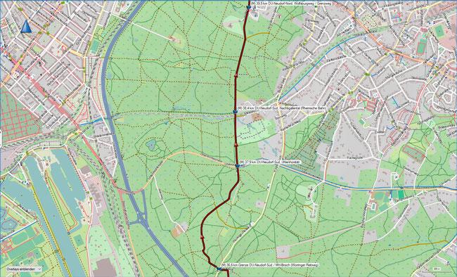 Rund um Mülheim Karte 8 MH-Broich, Worringer Reitweg - DU-Neudorf-Nord, Wolfsburgweg