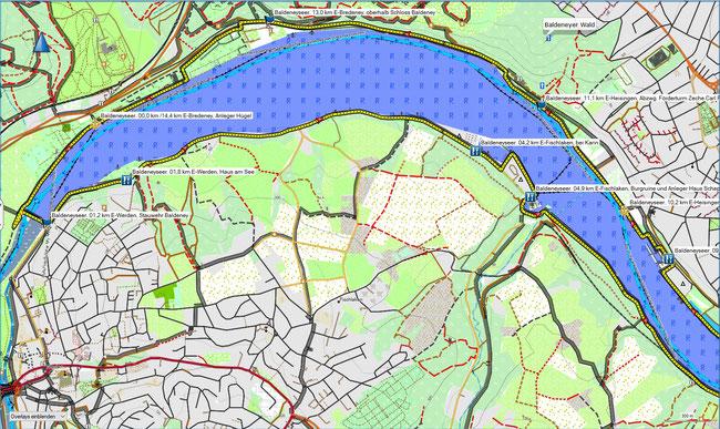 Baldeneyseerundweg Karte Westteil
