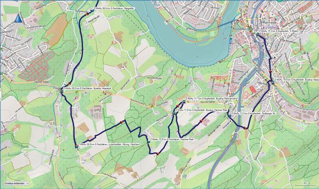 Z-Weg Essen-Werden - Essen-Kupferdreh Karte 2 E-Fischlaken, Bus Hespertal - Essen-Kupferdreh, S-Bahnhof (Markt)