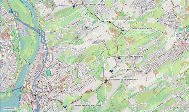 Raute 8 Karte 3 E-Überruhr-Holthausen, Deipenbecktal - E-Kupferdreh, S-Bahnhof
