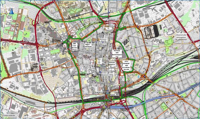Karte des Essener Stadtkerns