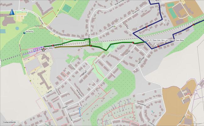 S-Bahnhalt Essen-Eiberg: grün Zugang zum Bahnsteig Richtung Essen, Duisburg, Düsseldorf und Solingen (ca. 600 m), gelb Zugang zum Bahnsteig Richtung Bochum und Dortmund (ca. 550 m)