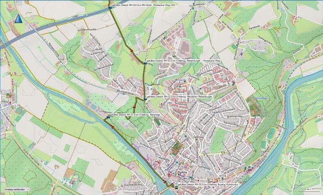 gefülltes Dreieck Karte 1 Essen-Kettwig - Mülheim-Ickten