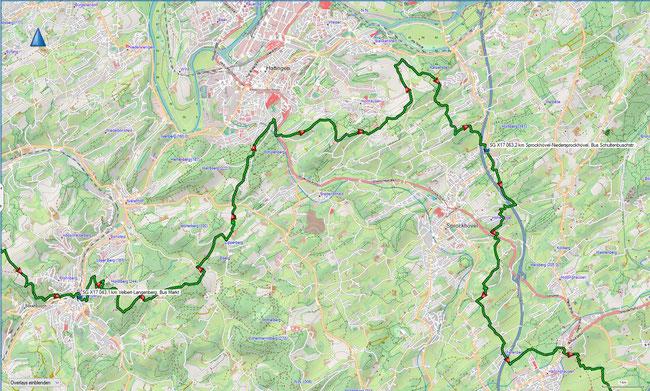 X17 3. Etappe Übersichtskarte Velbert-Langenberg - Sprockhövel-Hammertal