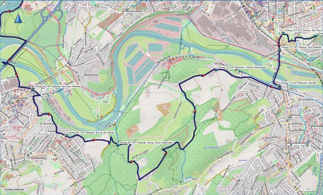 U Universitätenweg Detailkarte 2 Witten-Herbede, Haus Herbede - Witten-Zentrum, Wetterstr.