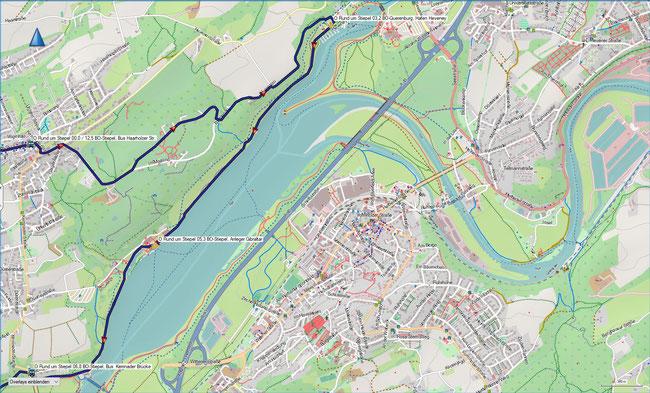 Rund um Stiepel Karte 1 Bochum-Stiepel, Haarholzer Straße - Kemnader Stausee - BO-Stiepel, Kemnader Brücke