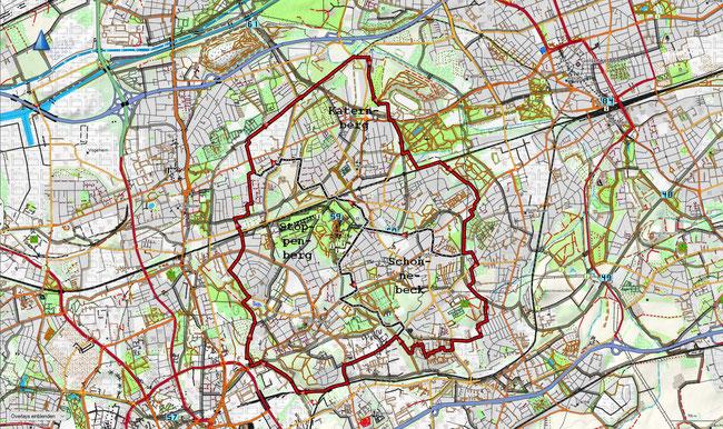 Karte des Stadtbezirks VI mit den zugehörigen Stadtteilen