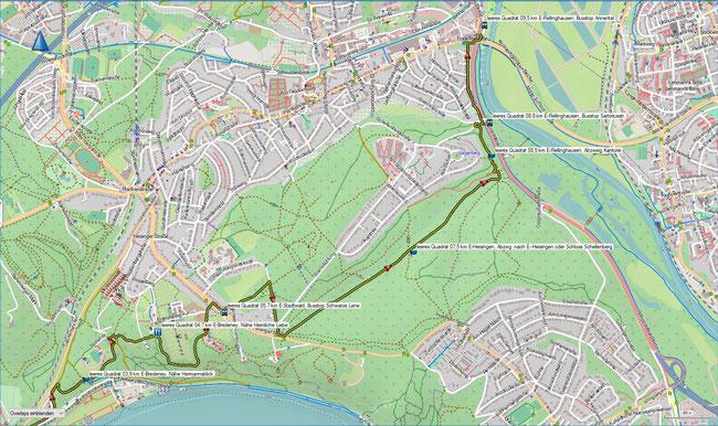 leeres Quadrat Karte 2 E-Stadtwald, Bus Schwarze Lene - E-Rellinghausen, Bus Annental