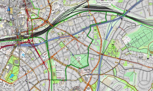 Karte des Essener Südostviertels