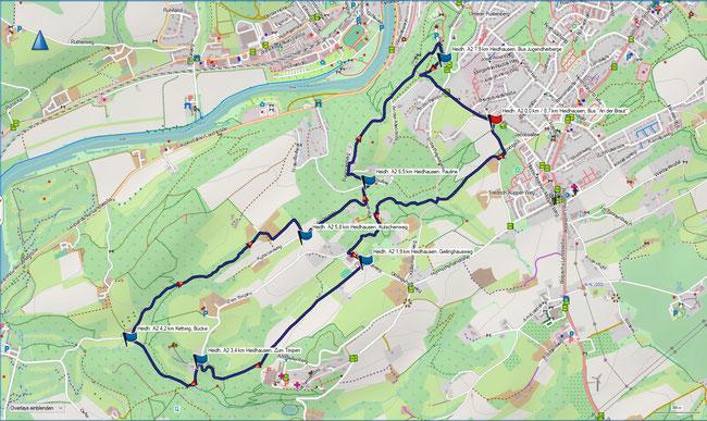 Karte Heidhausen A1 im Grundmaßstab der übrigen Wanderungen