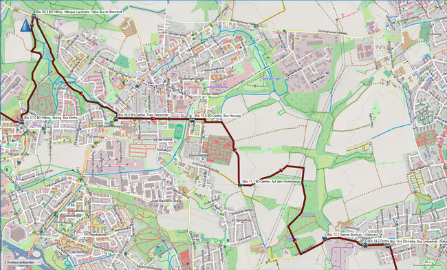 Balken BO-Grumme - CAS-Castrop Karte2 Bochum-Rosenberg - CAS-Bövinghausen