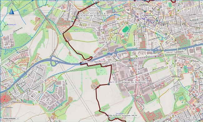 (B) Rund um Bochum Detailkarte 11 BO-WAT-Sevinghausen - BO-WAT-Leithe