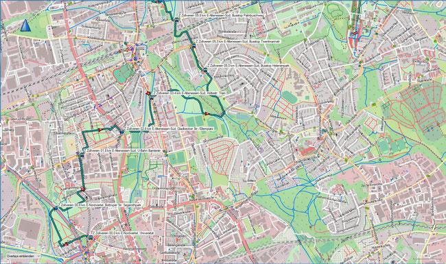 Z Zollvereinweg Karte 1  Uni Essen - Kaiser-Wilhelm-Park