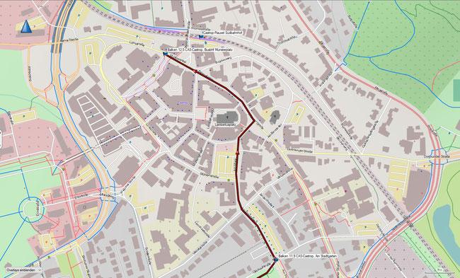 Balken BO-Grumme - CAS-Castrop Karte 3a Ausschnittvergrößerung Ortskern Castrop