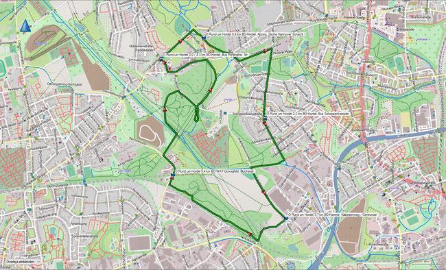 Baldeneysteig Karte 1: Essen-Bredeney, Bus Seeblick - E-Bredeney, Abzwg. Seitenblick Korte Klippe