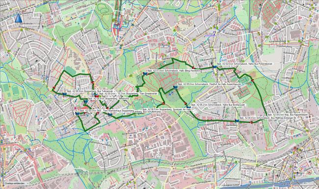Karte Stoppenberg A2 im Grundmaßstab der übrigen Wanderungen