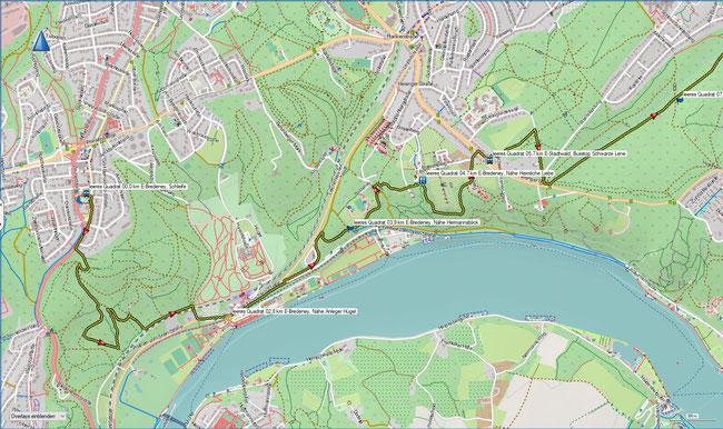 leeres Quadrat Karte 1 Essen-Bredeney, Schleife - E-Stadtwald, Bus Schwarze Lene