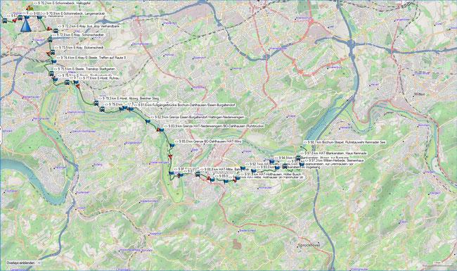 Raute 9 Übersicht östlicher Teil (Essen-Horst - Bochum-Stiepel, Stauwehr Kemnader See)