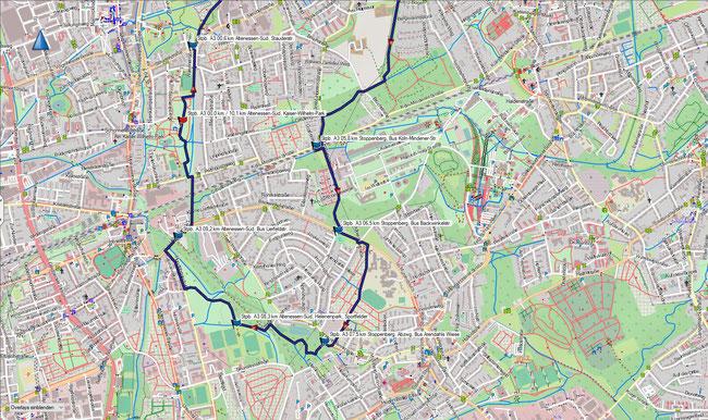 Karte Stoppenberg A3 im Grundmaßstab der übrigen Wanderungen (Südteil)
