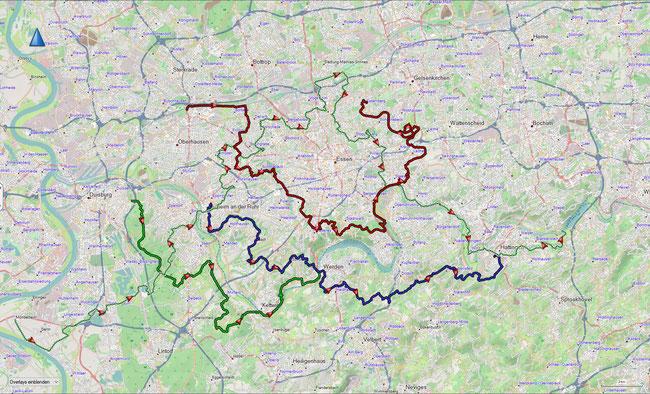 Bezirkswanderwege Untere Ruhr Übersicht, lediglich der hier rot markierte Angerlandweg berührt das Essener Stadtgebiett nicht