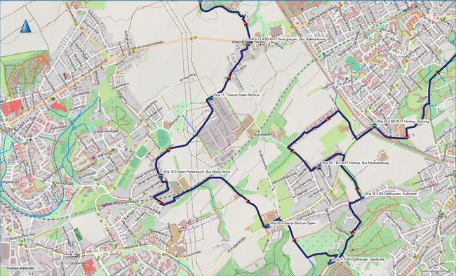 (W) Rund um Wattenscheid Detailkarte 2 BO-Höntrop, Brucknerstr. - BO-Sevinghausen