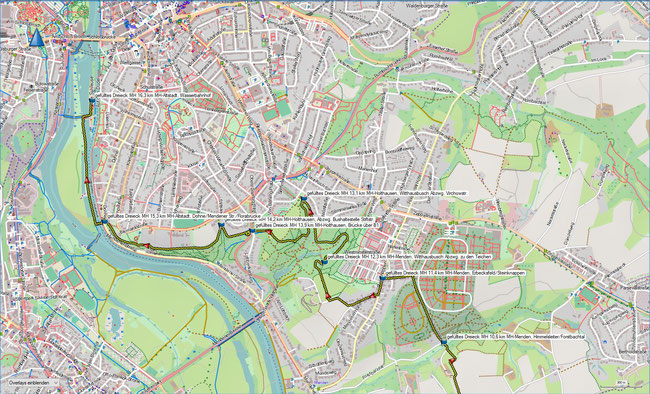 gefülltes Dreieck Karte 3 MH-Raadt - MH-Altstadt, Wasserbahnhof