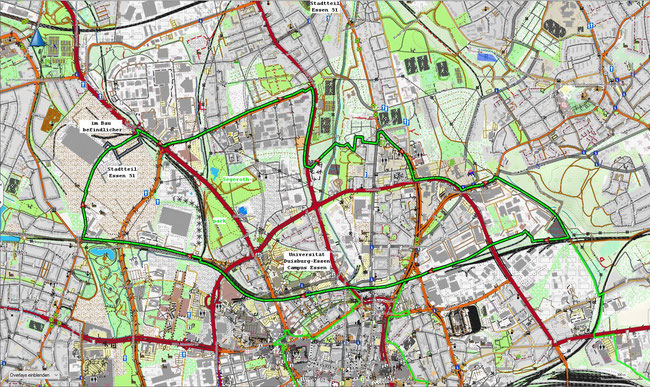 Karte des Essener Nordviertels
