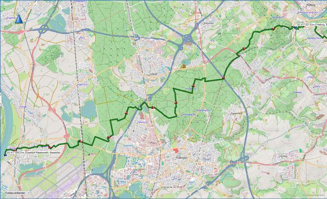 X17 1. Etappe Übersichtskarte Düsseldorf-Kaiserswerth - Essen-Kettwig vor der Brücke