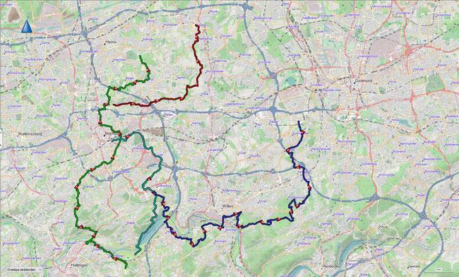 große Bochumer Streckenwege Übersicht