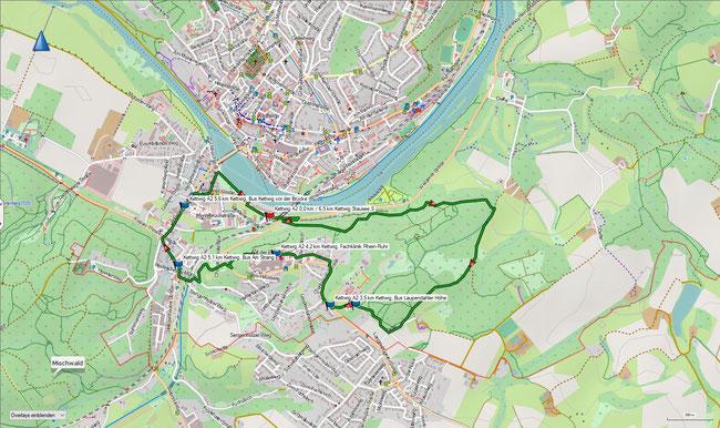 Karte Kettwig A2 im Grundmaßstab der übrigen Wanderungen