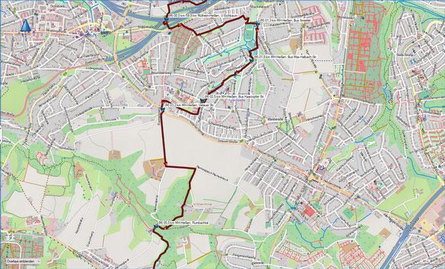 Rund um Mülheim, Karte 1 MH-Heißen, Eichbaum - MH-Holthausen-Menden, Rumbachtal
