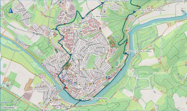 Karte Kettwig A4 im Grundmaßstab der übrigen Wanderungen (Südteil)
