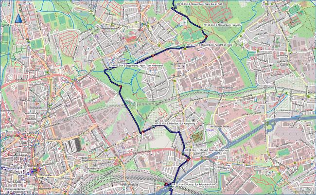 Naturrroute Karte 2 Essen-Huttrop - Essen-Stoppenberg
