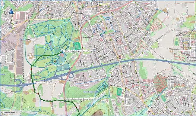 Wittringer Weg Karte 4 GLA-Brauck, Bus Kösheide - GLA-Ellinghorst, Schloss Wittringen