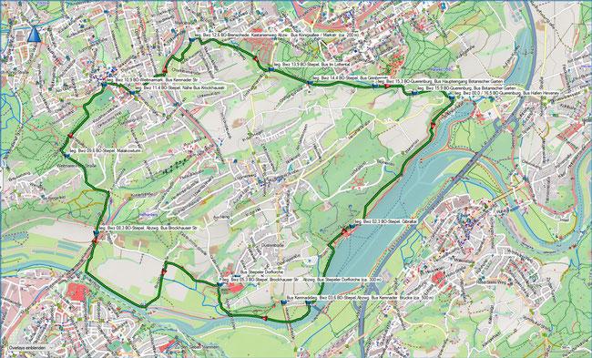 Bergbauwanderweg Bochum-Süd Übersichtskarte