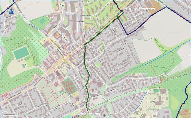 grün: unmarkierter Verbindungsweg zwischen dem S-Bahnhalt Wattenscheid-Höntrop und der Tramhaltestelle Brucknerstr. (ca. 1100 m)