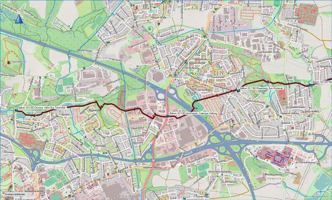 Balken BO-Grumme - CAS-Castrop  Karte 1 Bochum-Grumme - Bochum-Rosenberg