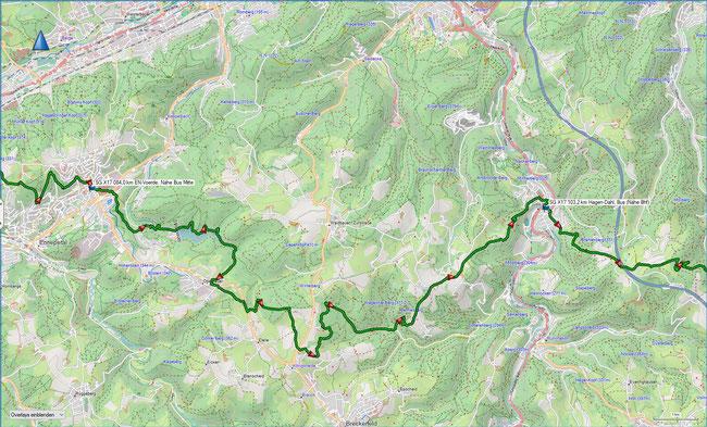 X17 5. Etappe Übersichtskarte Ennepetal-Voerde - Hagen-Dahl