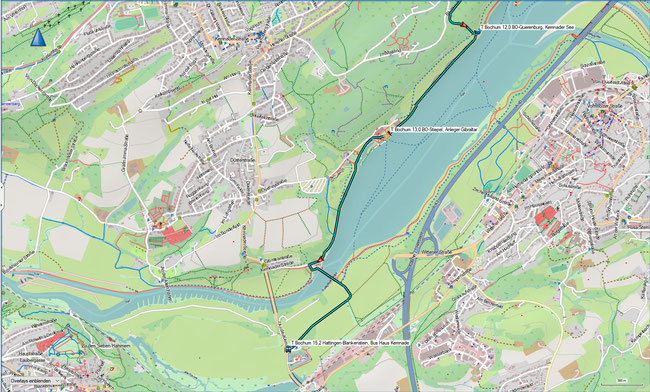 T Bochum Detailkarte 4 BO-Querenburg, Kemnader See - Hattingen-Blankenstein, Haus Kemnade