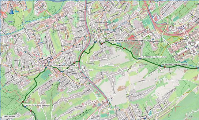 Bergbauwanderweg Bochum Süd Detailkarte 3 BO-Stiepel, Malakowturm - BO-Stiepel, Grimbergstr.