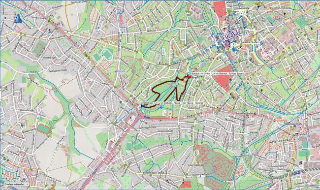 Karte Borbeck A1 im Grundmaßstab der übrigen Wanderungen