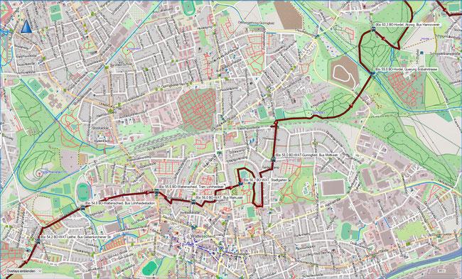 (B) Rund um Bochum Detailkarte 12 BO-WAT-Leithe - BO-Hordel