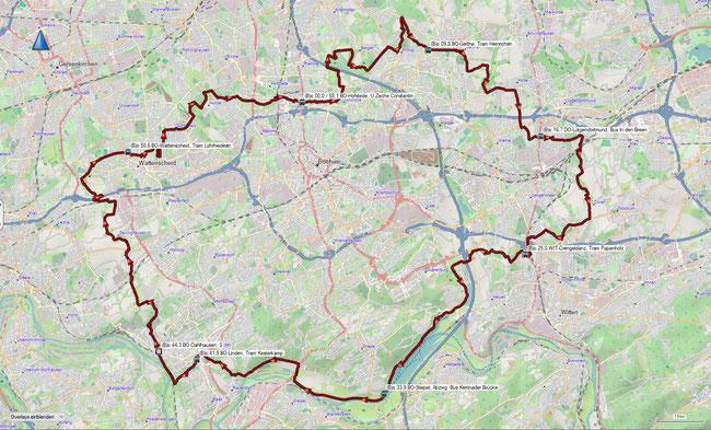Rund um Bochum Übersicht mit einer kleinen Auswahl wichtiger Haltestellen (tagsüber mo-fr. mindestens 15-minütig,  abends und am Wochenende mindestens 30-minütig, Trams fahren meist häufiger)