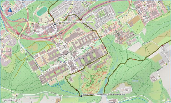 Rund um Querenburg Karte a Ausschnittvergrößerung Ruhr-Universität und Botanischer Garten
