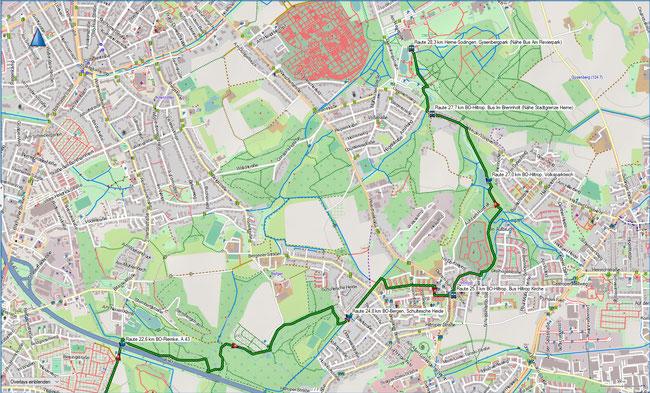Raute Katzenstein - Gysenbergpark Karte 6 BO-Riemke - Herne-Sodingen
